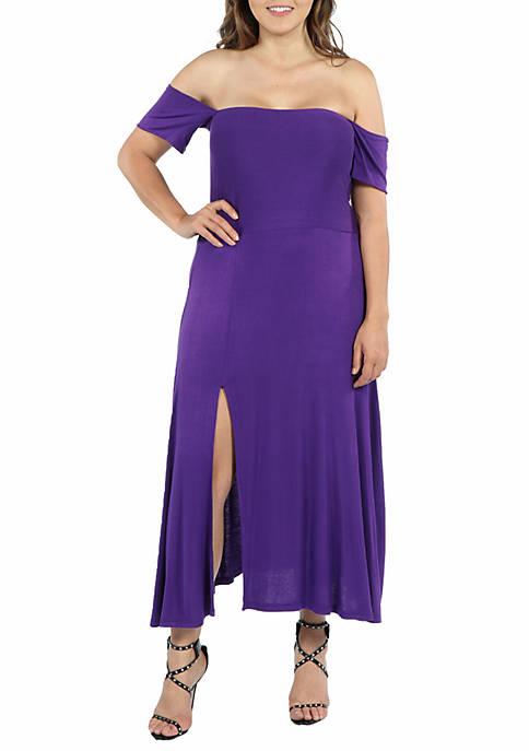 Plus Size Off the Shoulder Dress with Side Slit
