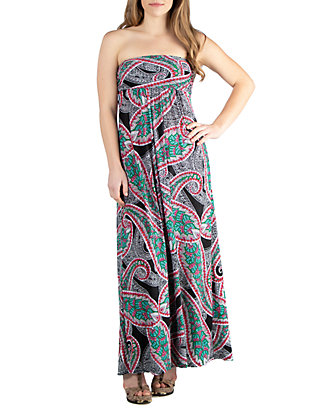 Plus Size Print Strapless Maxi Dress