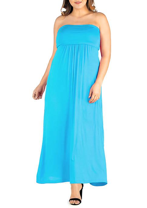 24seven Comfort Apparel Plus Size Strapless Maxi Dress