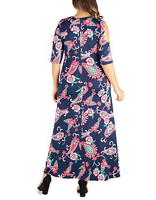 Plus Size Elbow Sleeve Cold Shoulder Maxi Dress