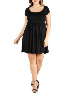 24seven Comfort Apparel Plus Size Cap Sleeve Knee Length Babydoll Dress Black 7mpns