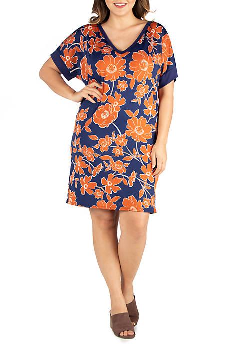 Plus Size V Neck Loose Fit Floral Resort Dress