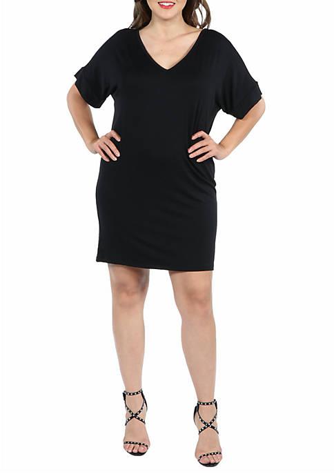 24seven Comfort Apparel Plus Size V Neck Loose