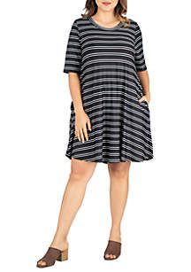 9997dd28bc ... 24seven Comfort Apparel Plus Size Knee Length Pocket T-Shirt Dress