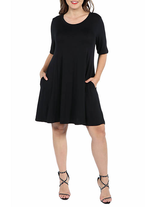 24seven Comfort Apparel Plus Size Knee Length Pocket