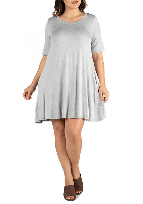 24seven Comfort Apparel Plus Size Knee Length Pocket