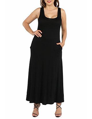 Plus Size Sleeveless Tank Maxi Dress with Pockets