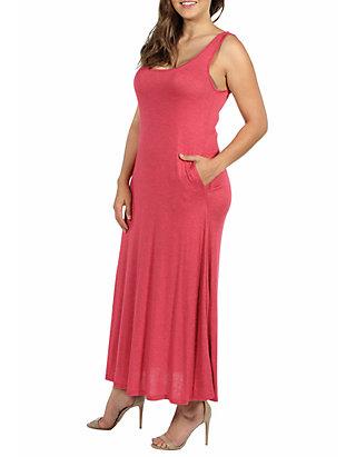 3fe07fa938a7 ... 24seven Comfort Apparel Plus Size Sleeveless Tank Maxi Dress with  Pockets