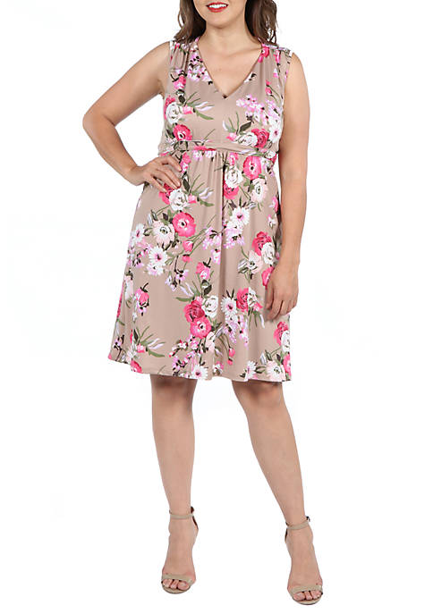 24seven Comfort Apparel Plus Size Floral Empire Waist