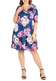 24seven Comfort Apparel Plus Size Elbow Sleeve Navy Floral Knee Length Dress
