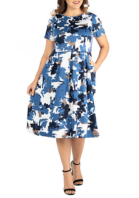Plus Size Short Sleeve Midi Skater Dress with Pockets