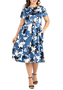 24seven Comfort Apparel Plus Size Short Sleeve Midi Skater Dress with Pockets