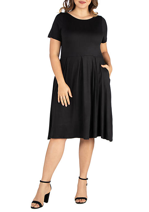 24seven Comfort Apparel Plus Size Short Sleeve Midi