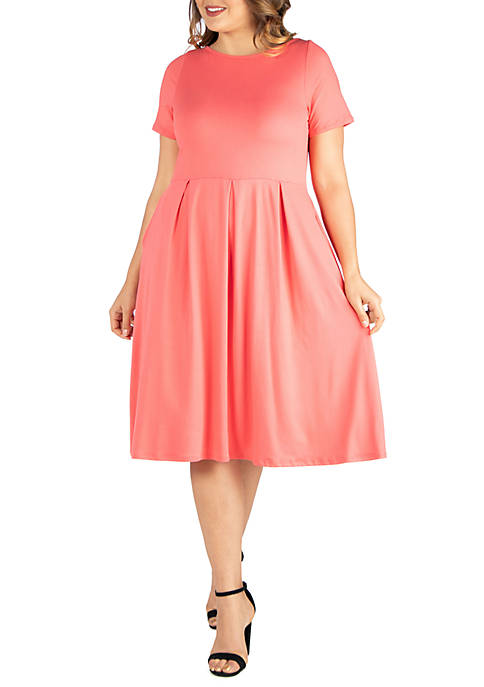 24seven Comfort Apparel Plus Size Short Sleeve Midi