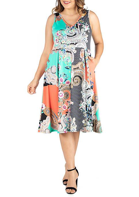 Plus Size Floral Print Midi Fit and Flare Pocket Dress