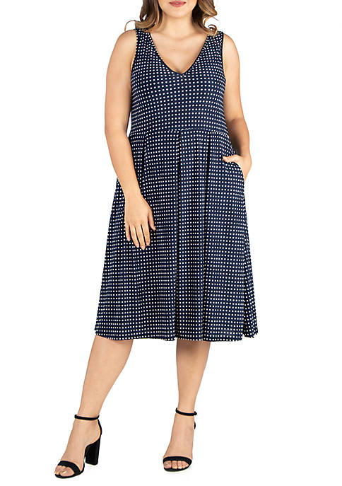 Plus Size Midi Fit and Flare Pocket Dress