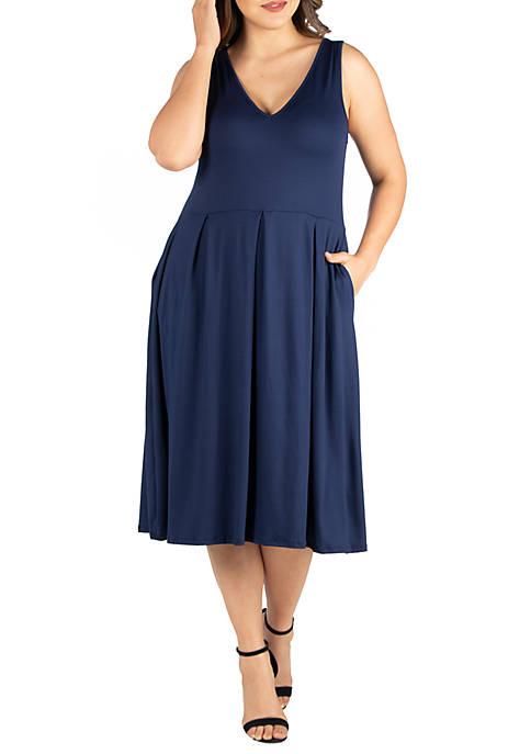 24seven Comfort Apparel Plus Size Sleeveless Midi Fit