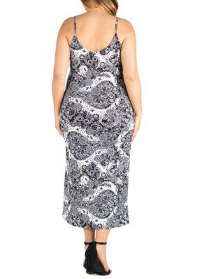 24seven Comfort Apparel Plus Size Spaghetti Strap Midi Wrap Dress Print VqzbX
