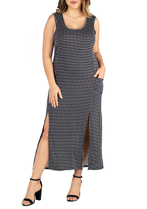 24seven Comfort Apparel Plus Size Sleeveless Polka Dot