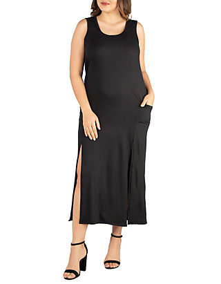 24seven Comfort Apparel Plus Size Sleeveless Maxi Dress with Pockets ...