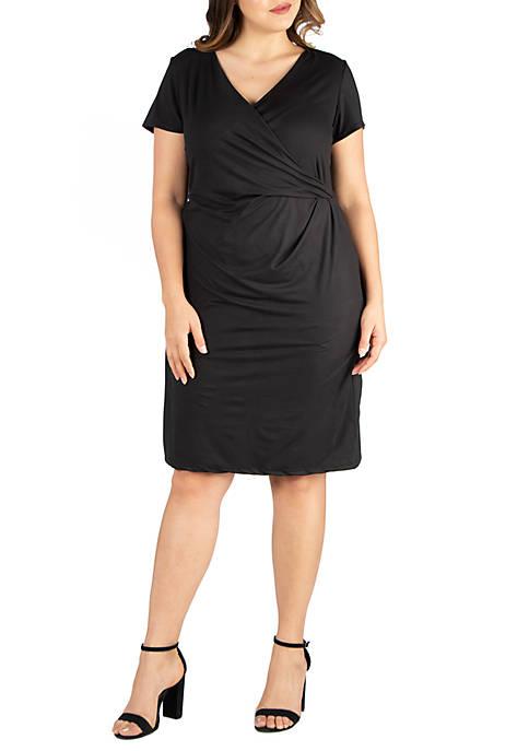 24seven Comfort Apparel Plus Size Short Sleeve V