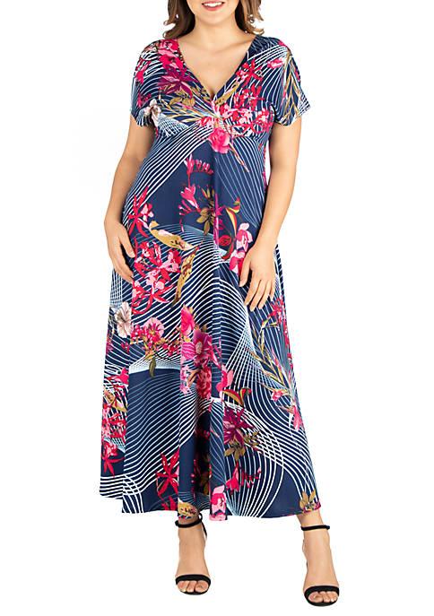 24seven Comfort Apparel Plus Size Floral Empire Waist