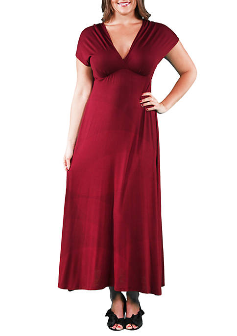 Plus Size Empire Waist V Neck Maxi Dress
