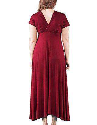 24seven Comfort Apparel Plus Size Empire Waist V Neck Maxi Dress | belk