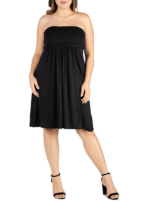 Plus Size Knee Length Strapless Mini Dress