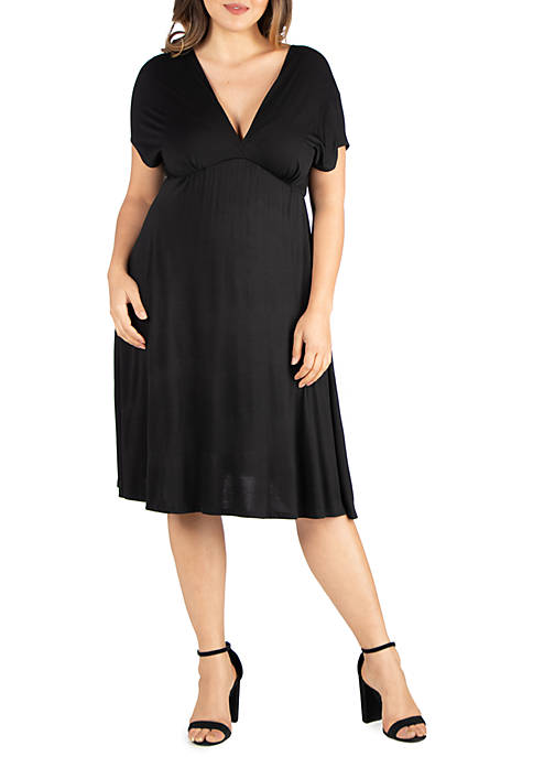 24seven Comfort Apparel Plus Size Short Sleeve Knee