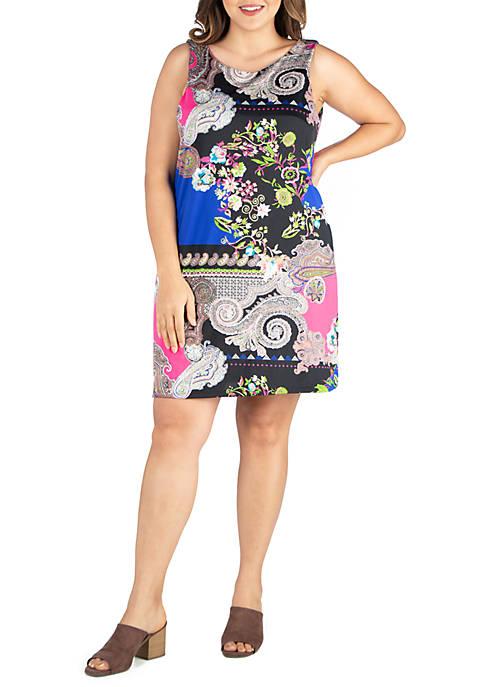 24seven Comfort Apparel Plus Size Sleeveless Shift Dress