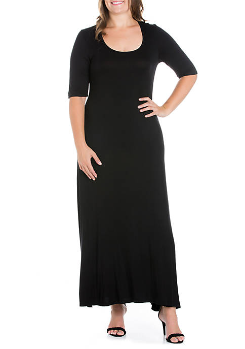 Plus Size Elbow Sleeve Maxi Dress