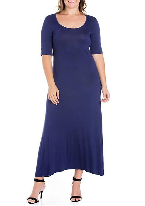 24seven Comfort Apparel Plus Size Elbow Sleeve Maxi