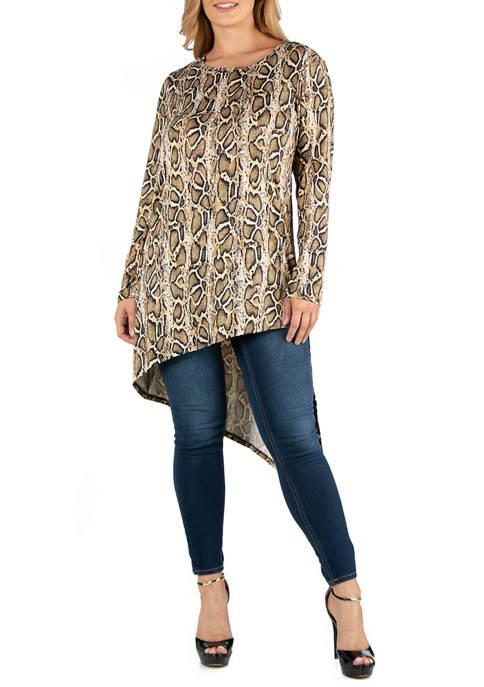 24seven Comfort Apparel Plus Size Long Sleeve Asymmetric