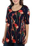 Plus Size Elbow Sleeve Floral Print Tunic Top