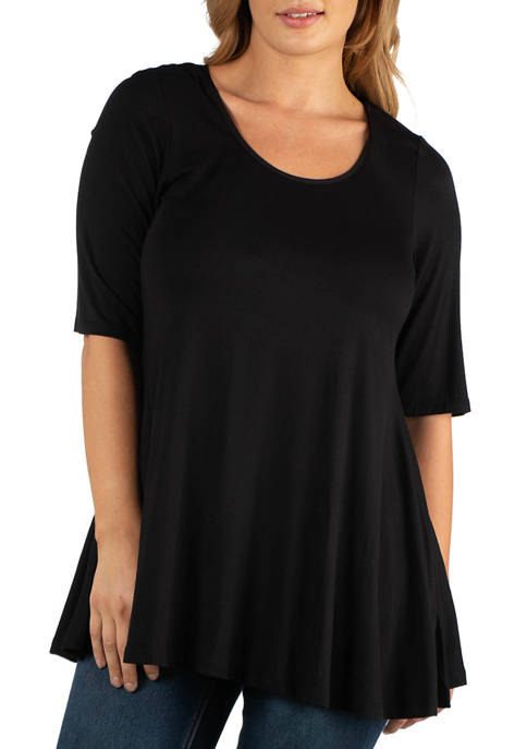 24seven Comfort Apparel Plus Size Elbow Sleeve Tunic