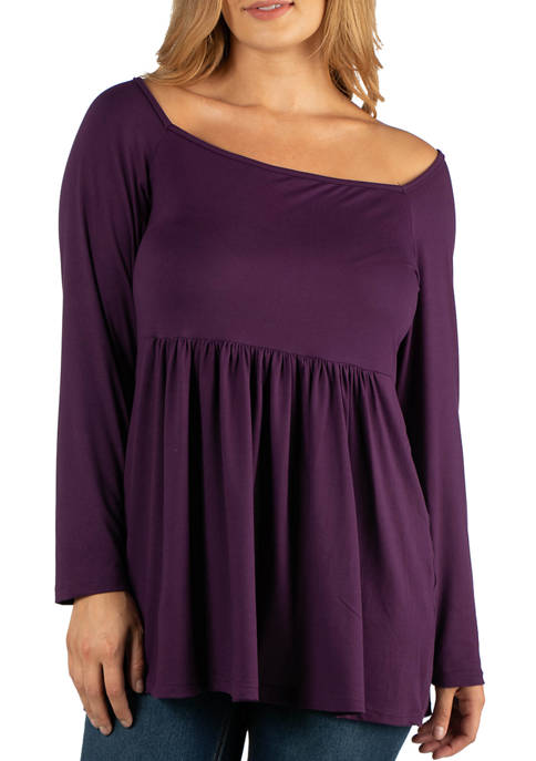 Plus Size Long Sleeve Square Neck Empire Waist Tunic Top