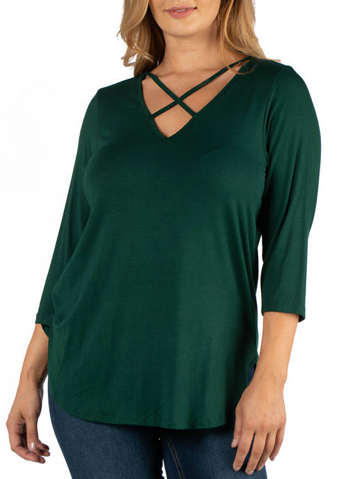 24seven Comfort Apparel Plus Size V-Neck 3/4 Sleeve