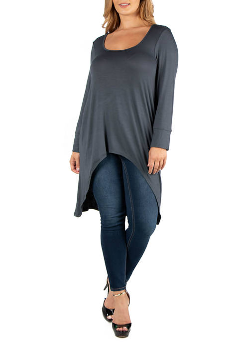24seven Comfort Apparel Plus Size Long Sleeve High