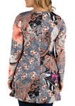 Plus Size Flared Floral Long Sleeve High Low Tunic Top