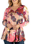 Plus Size Blush Floral Long Sleeve Henley Tunic Top