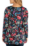 Plus Size Flared Floral Long Sleeve Henley Tunic Top