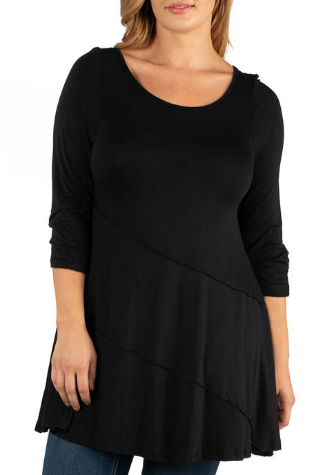 24seven Comfort Apparel Plus Size Ruched Sleeve Swing