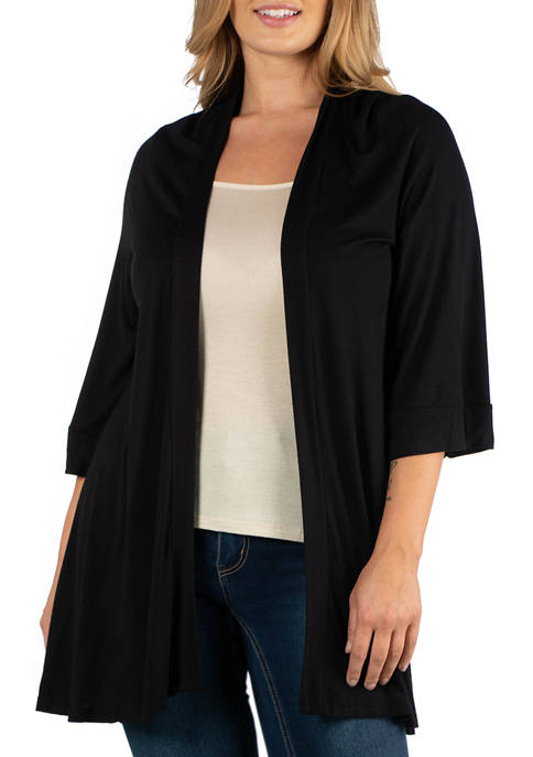 24seven Comfort Apparel Plus Size Open Front Elbow
