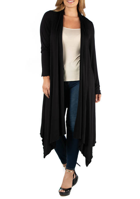 Plus Size Long Sleeve Knee Length Open Cardigan