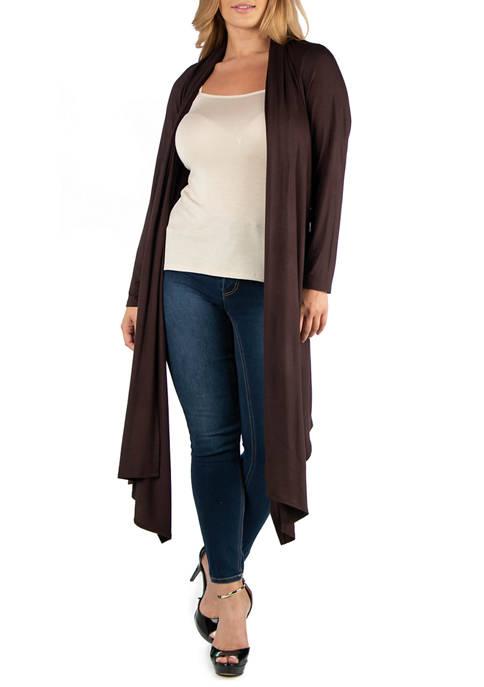 Plus Size Long Sleeve Knee Length Open Cardigan