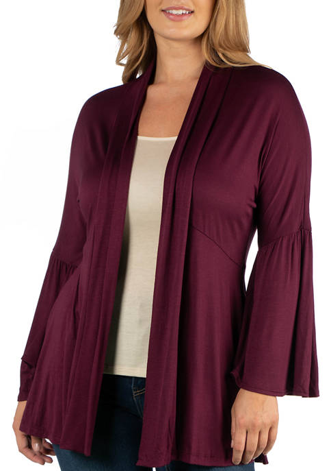 24seven Comfort Apparel Plus Size Long Flared Sleeve
