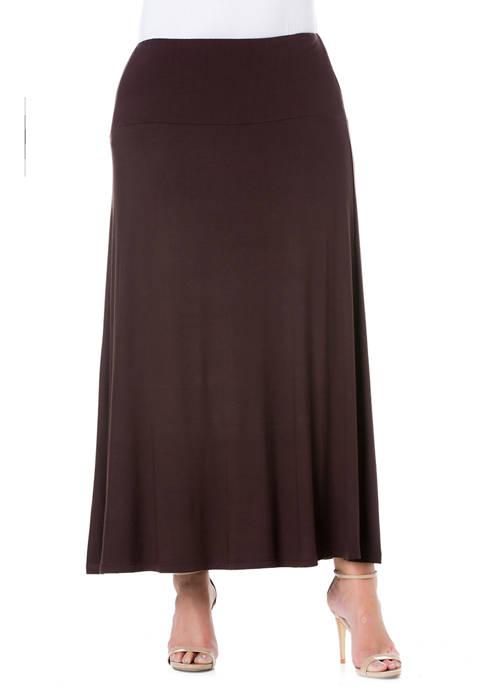 24seven Comfort Apparel Plus Size Elastic Waist Solid