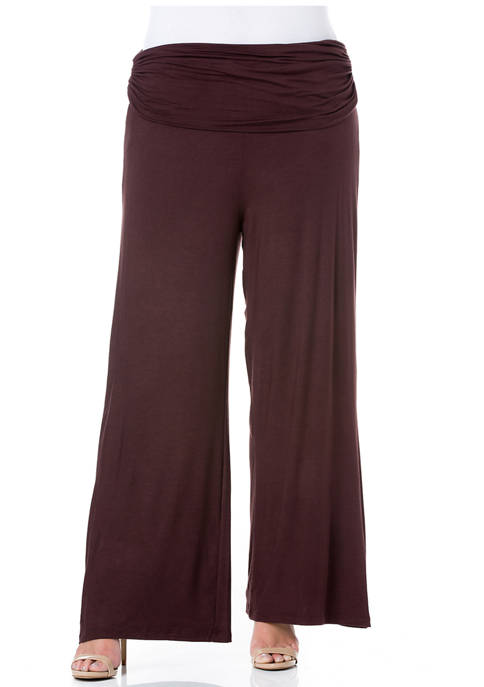 24seven Comfort Apparel Plus Size Foldover Palazzo Pants