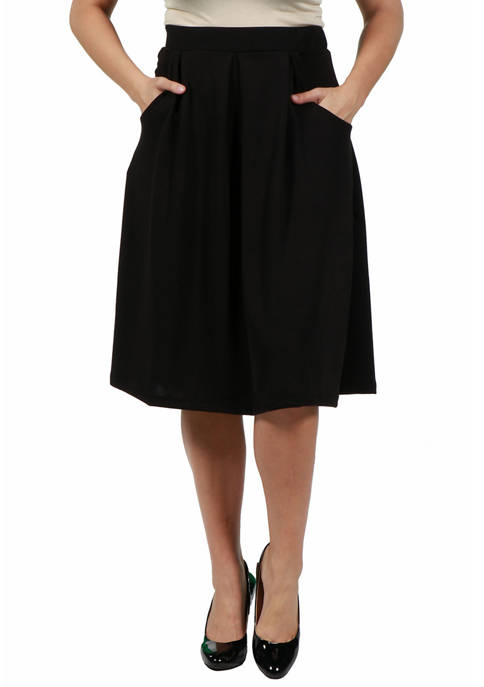 24seven Comfort Apparel Plus Size Classic Black Knee